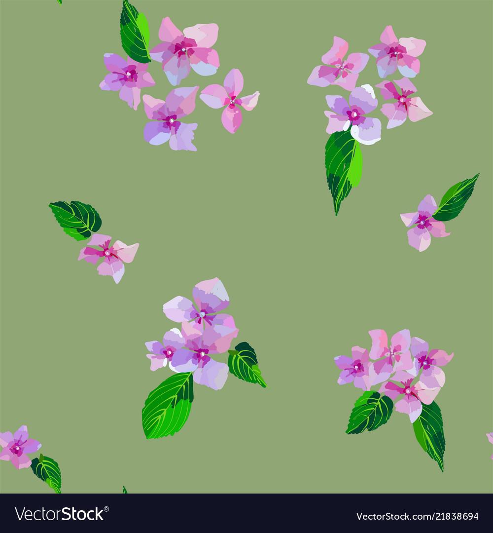 Garden pink flowers seamless pattern