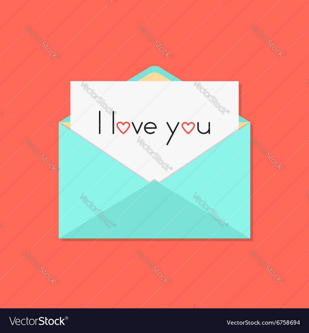 Green open letter with i love you on white sheet