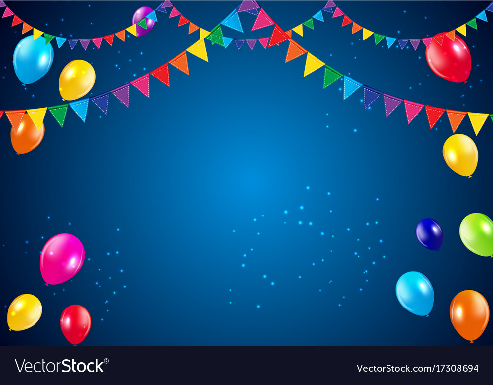 Happy birthday party background with flags and Vector Image Birthday Celebration Background Hd
