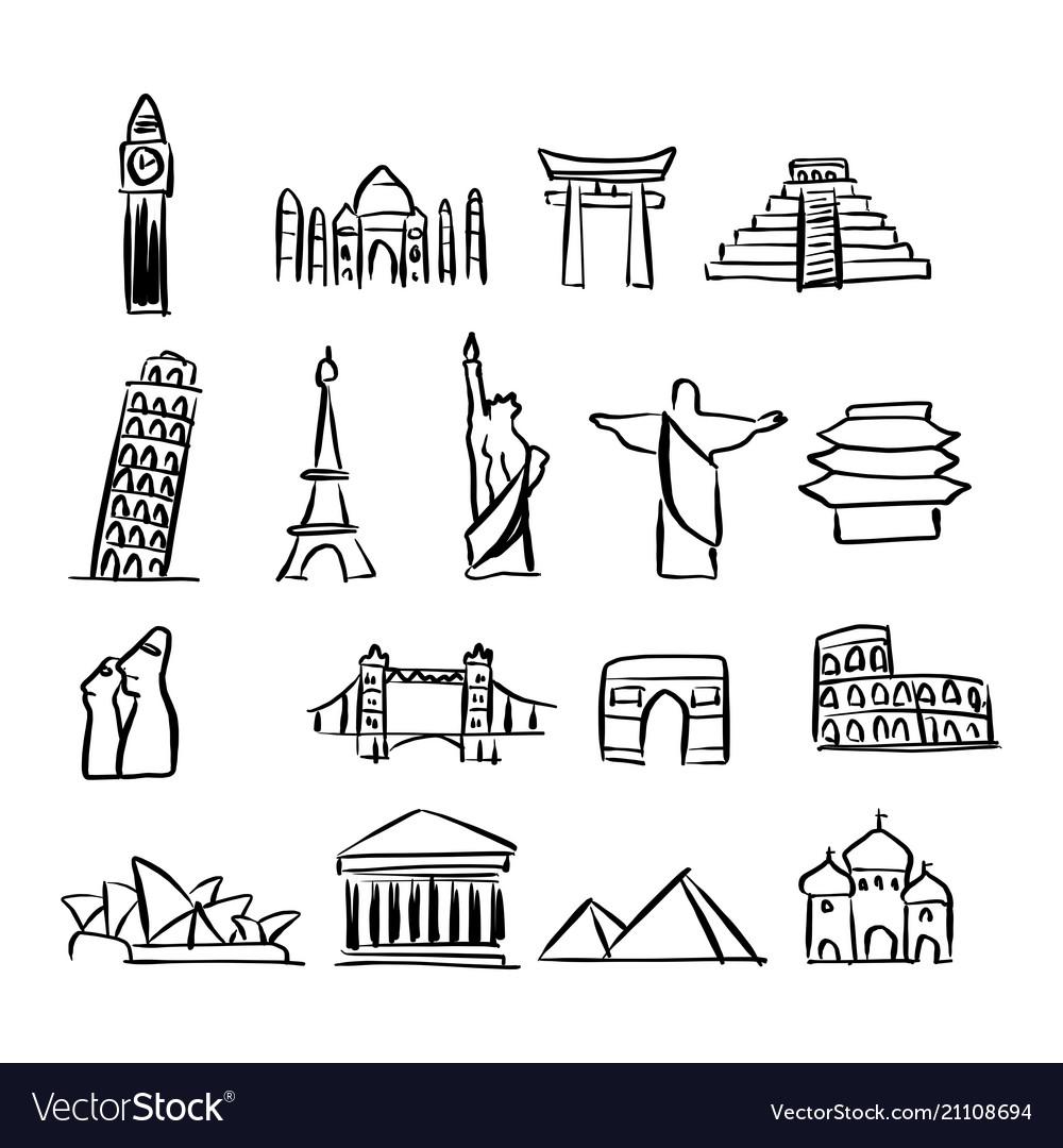 Icon set of famous landmarks around the world