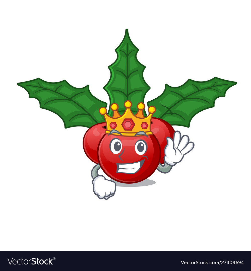 Christmas Holly Cartoon.King Christmas Holly Berry In Cartoon