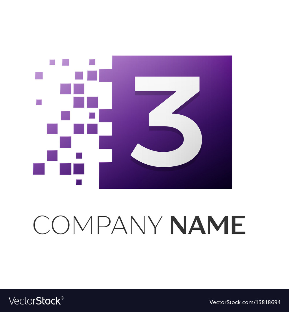 Number three logo symbol in the colorful square on