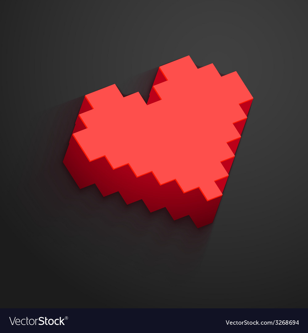Pixel heart button for Valentines day designs