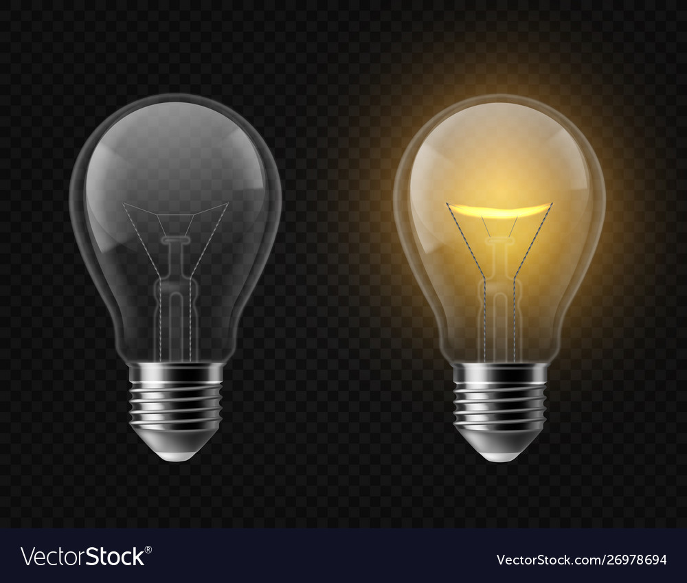 Realistic light bulb turned off and glowing