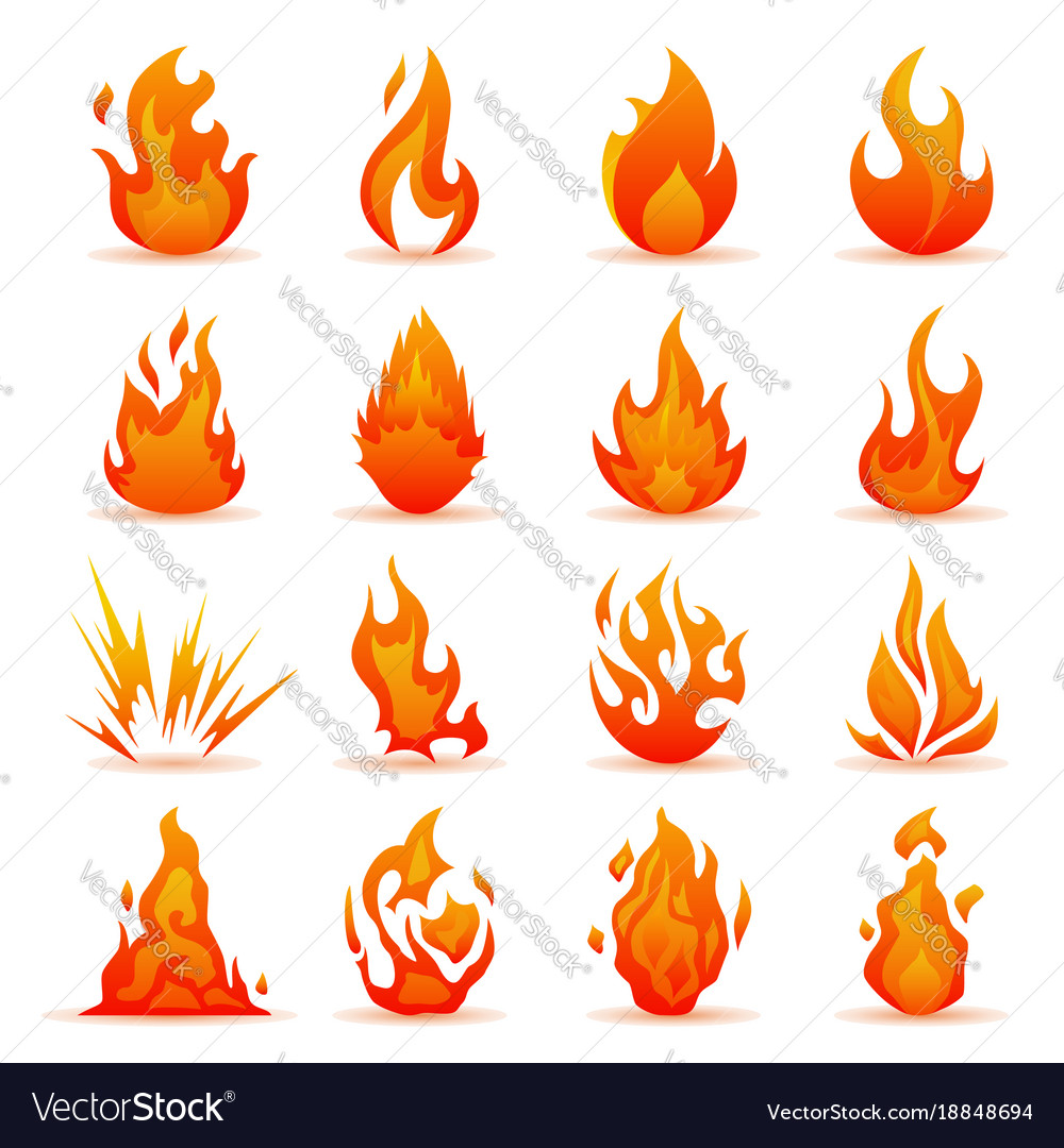 Set of fire and flame icons colorful
