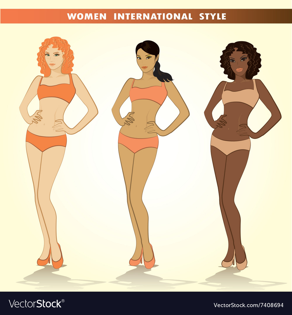 Set of three fashion girls vector image