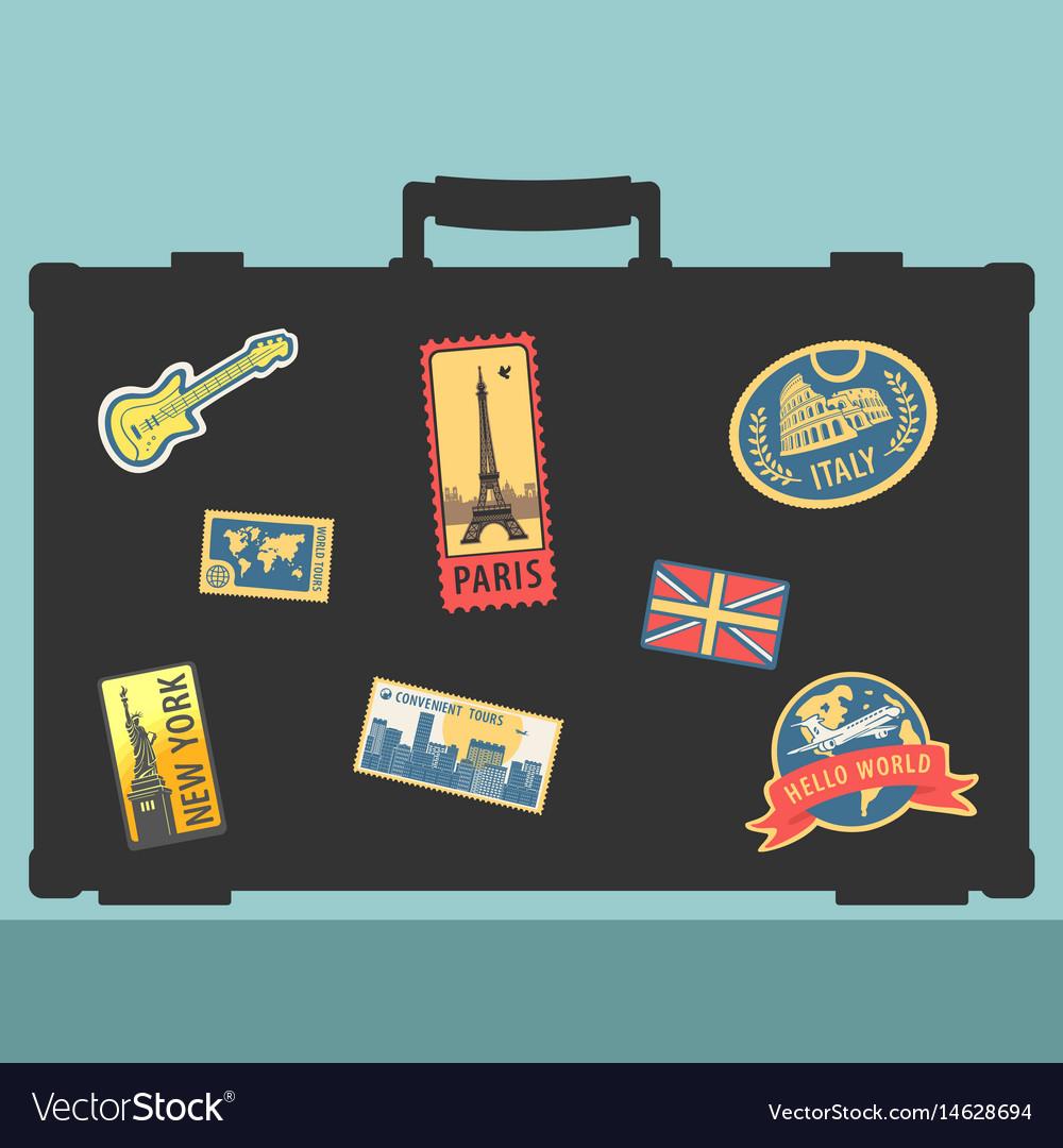 Set of traveler sticker elements