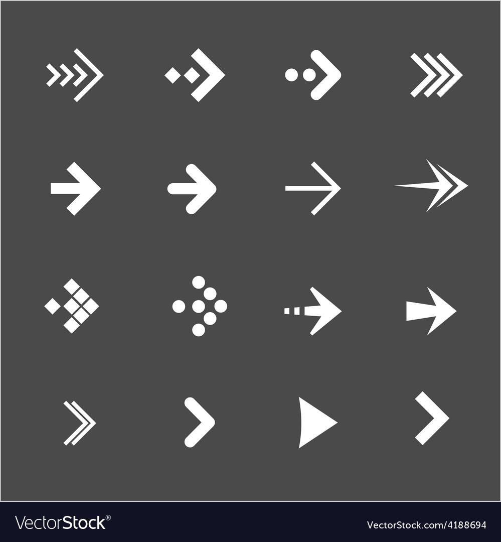 White arrows set on a black background