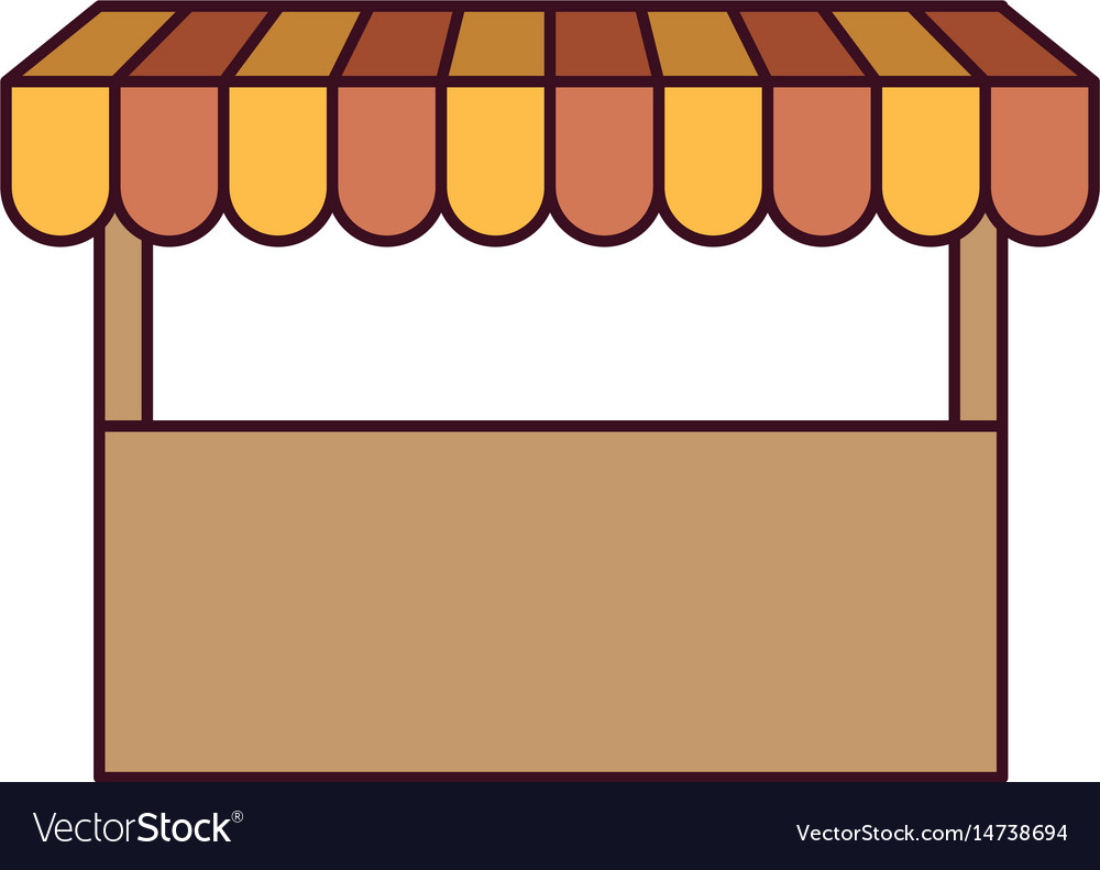 White background with store icon and black contour vector image