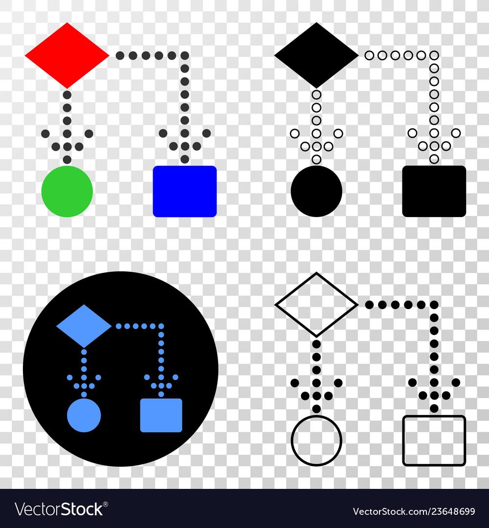 Block diagram eps icon with contour version