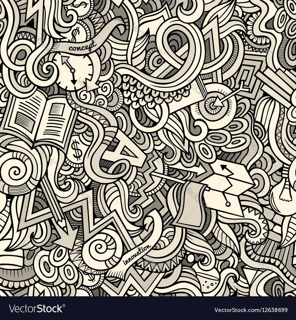 Cartoon cute doodles hand drawn Idea seamless vector image