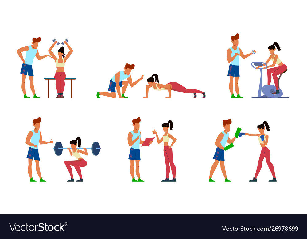 Fitness trainer gymnastics exercising in gym