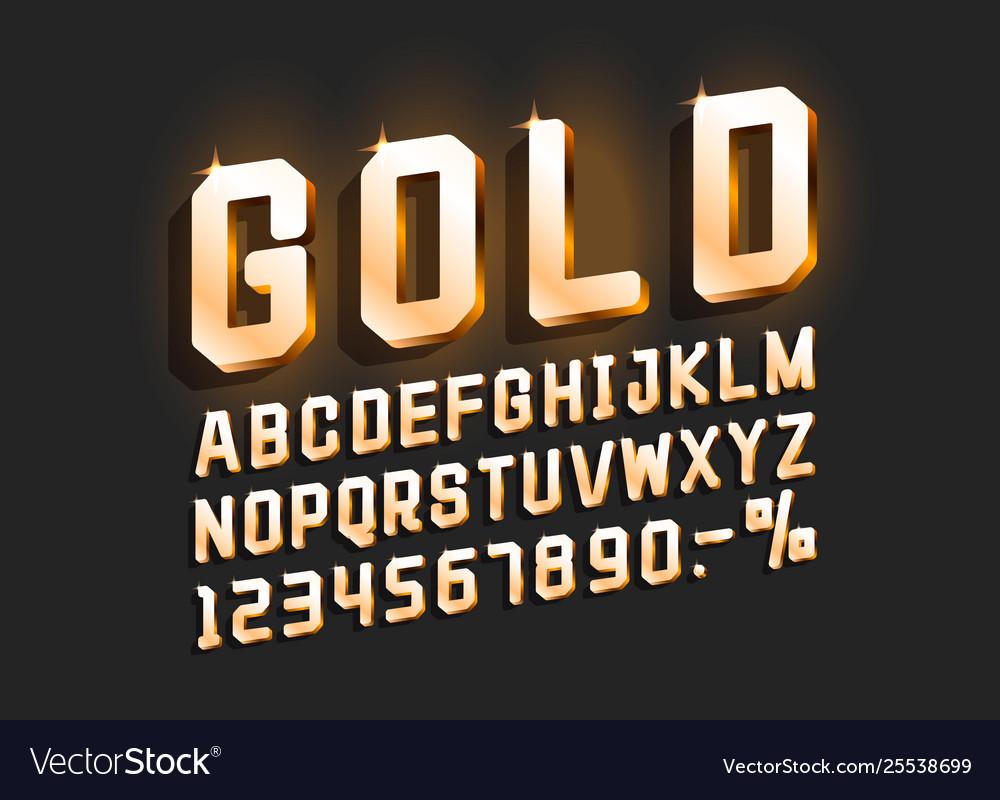 Golden font alphabet retro number sign