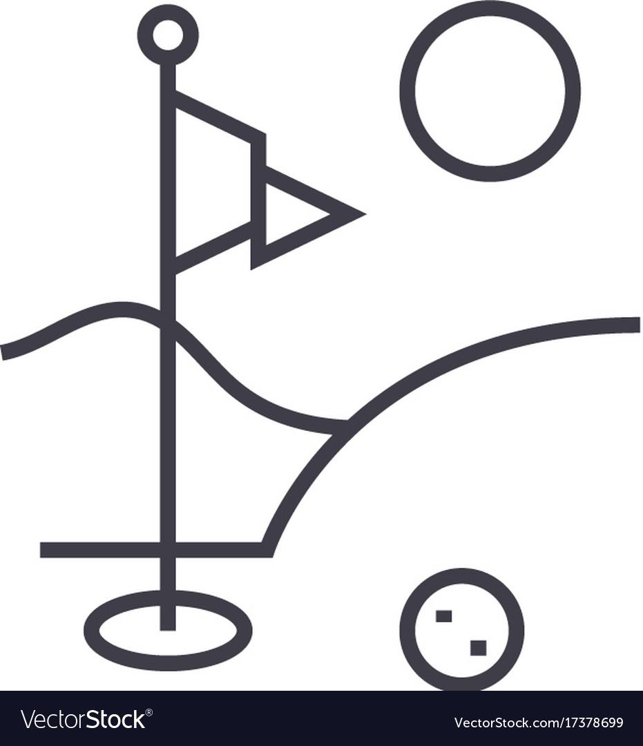 Golf field flat line concept