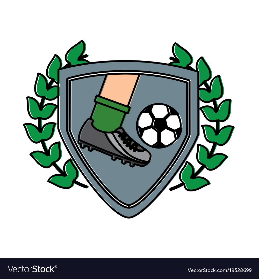 d79457d4d90 Leg foot kicking soccer ball inside shield emblem Vector Image