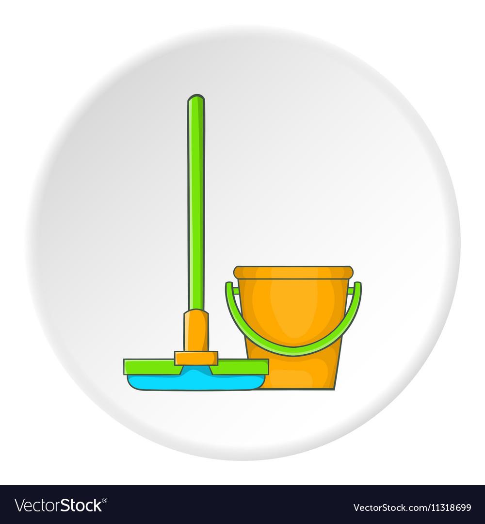 Orange bucket with mop icon cartoon style vector image