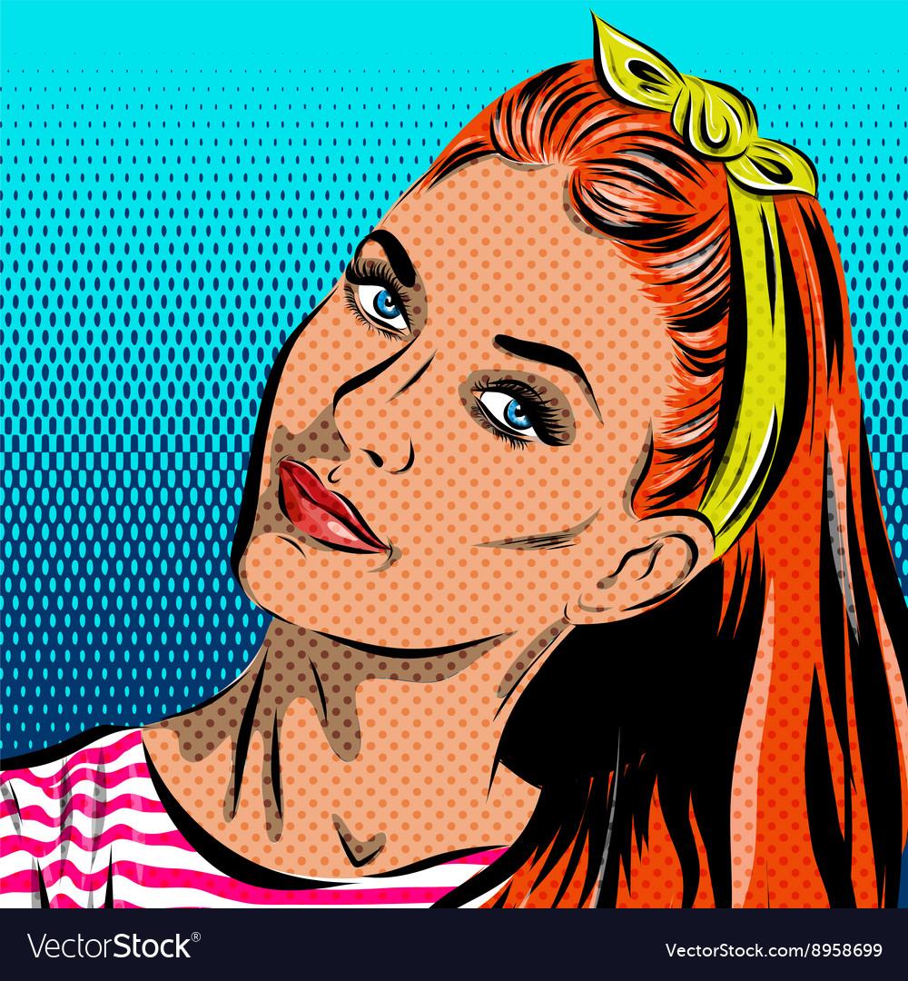 Pop Art Woman - on a polka-dots background
