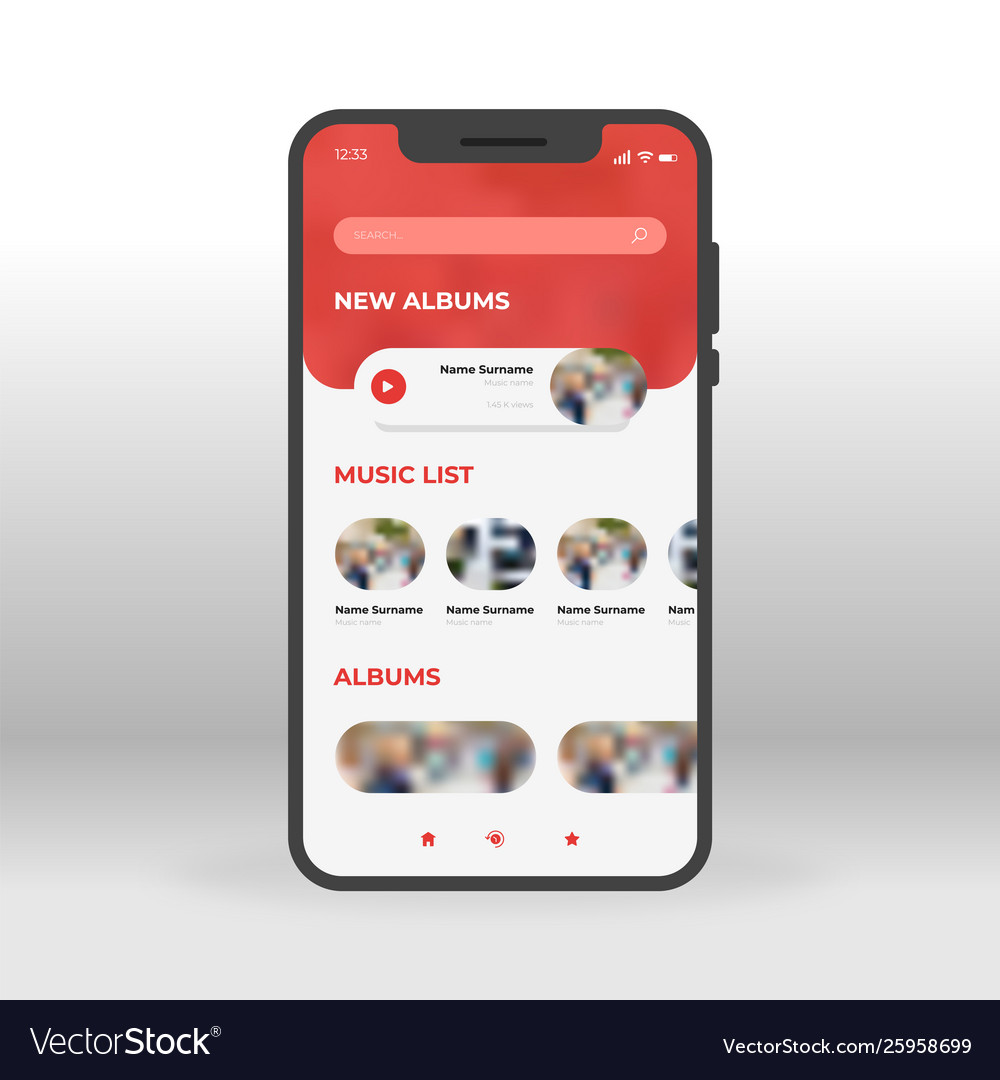 Red music ui ux gui screen for mobile apps design