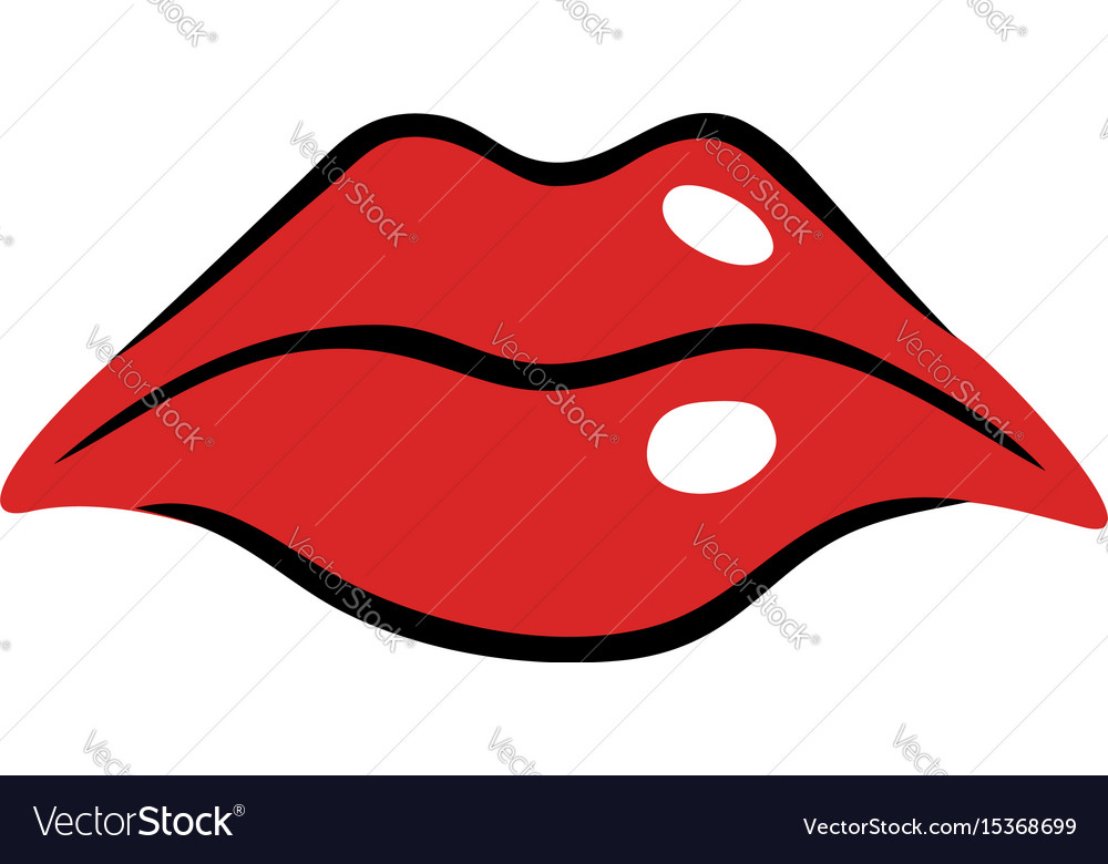 sad female mouth with red lips royalty free vector image rh vectorstock com Nose Vector Hand Vector