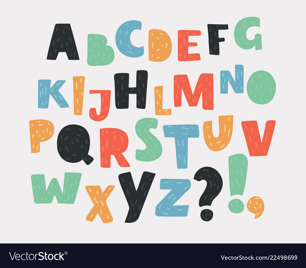 Set of letters in different colors alphabet