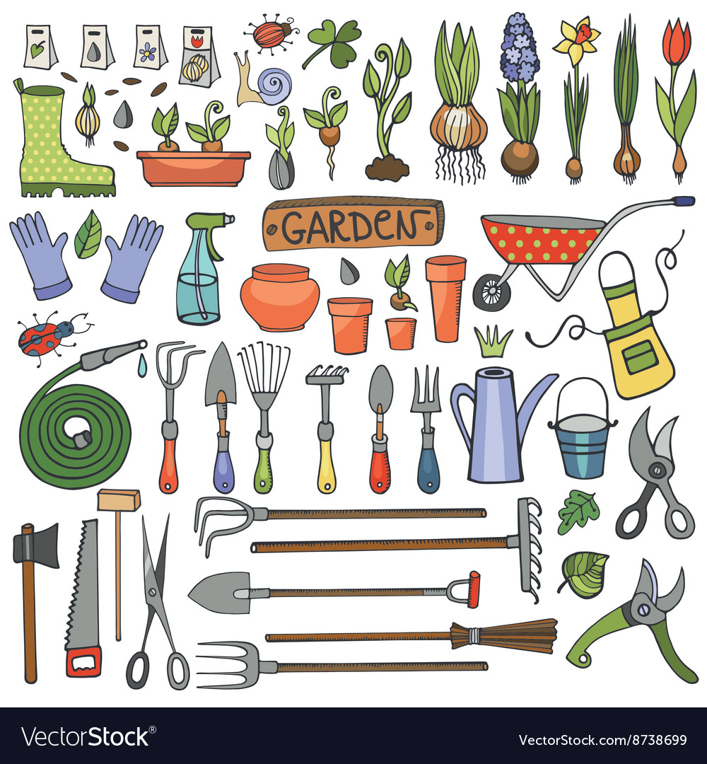 Spring garden doodle setColored toolsplants
