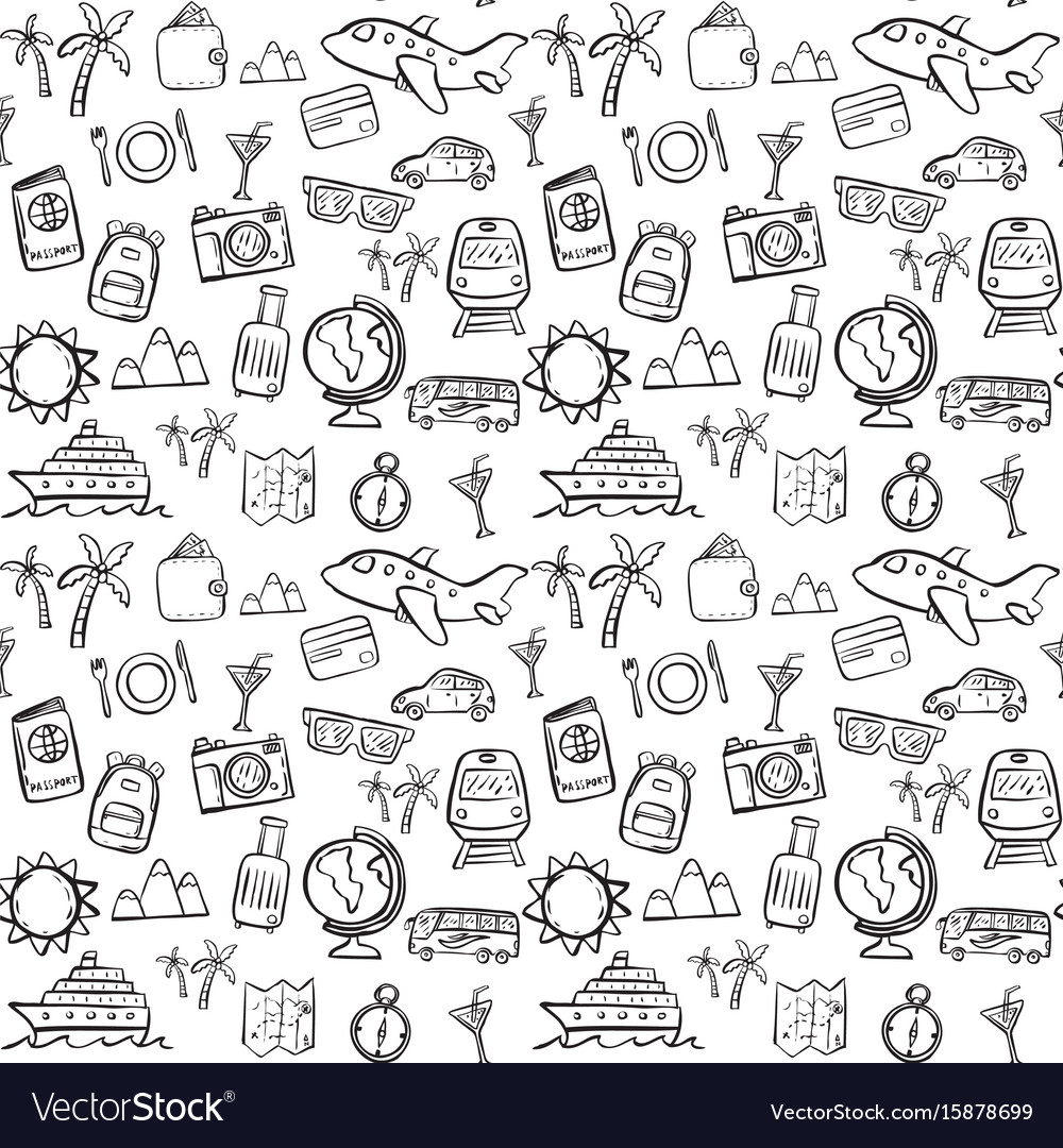 Travel doodle seamless pattern background vector image