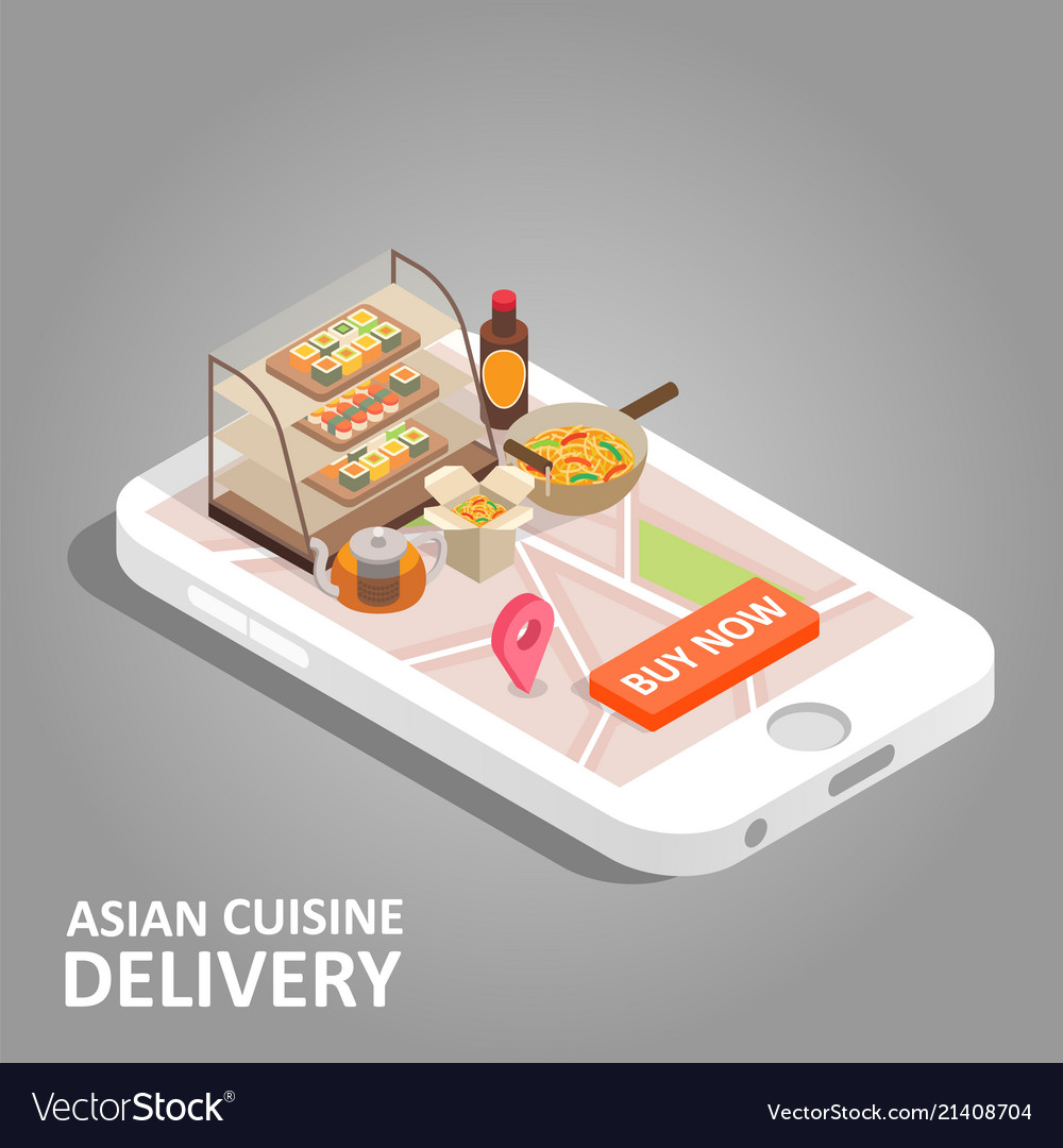 Asian food online isometric