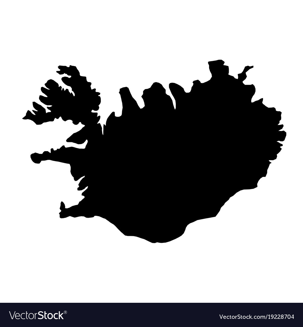 Black silhouette country borders map of iceland Vector Image