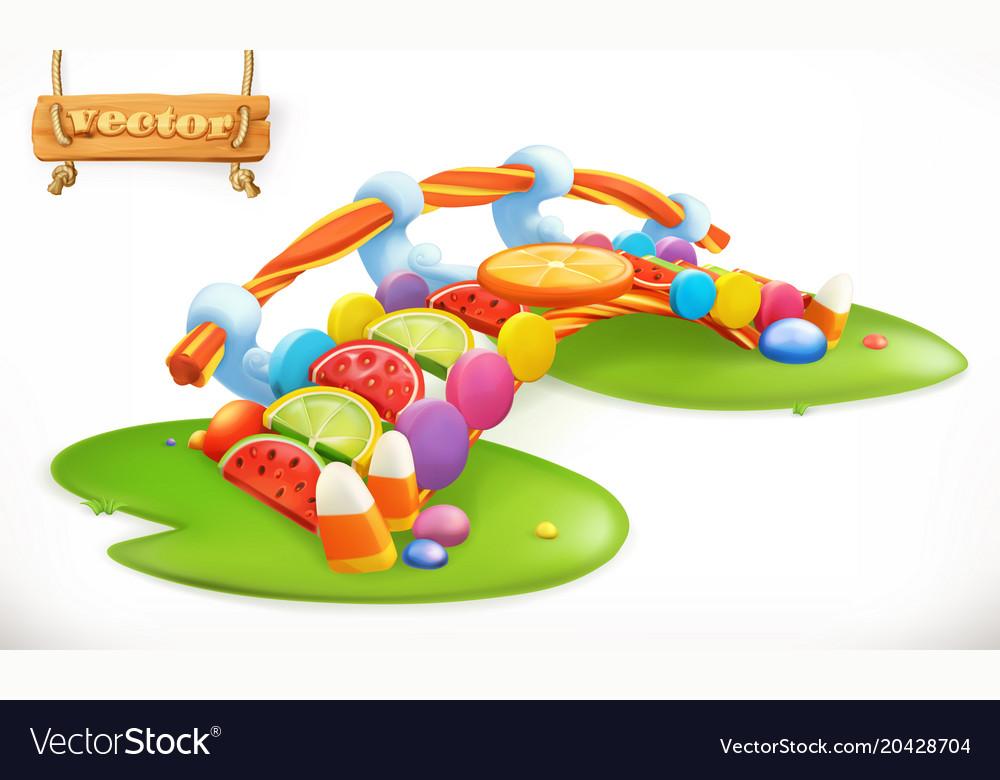Bridge of candies sweet land fruit candy 3d icon