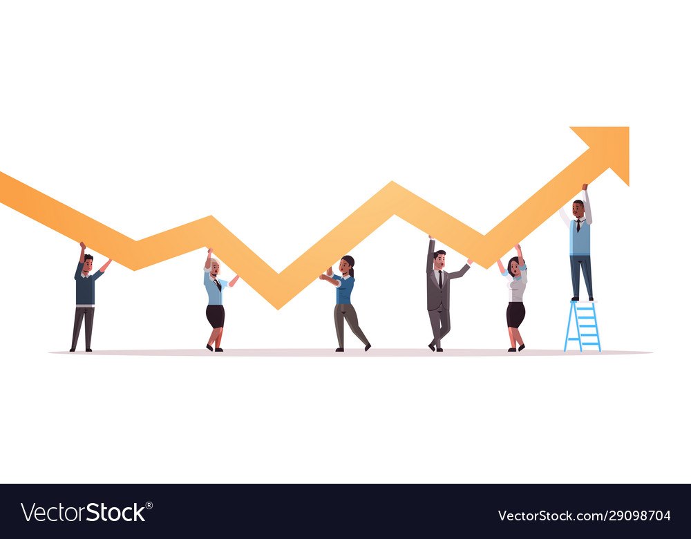 Businesspeople holding upward financial arrow up