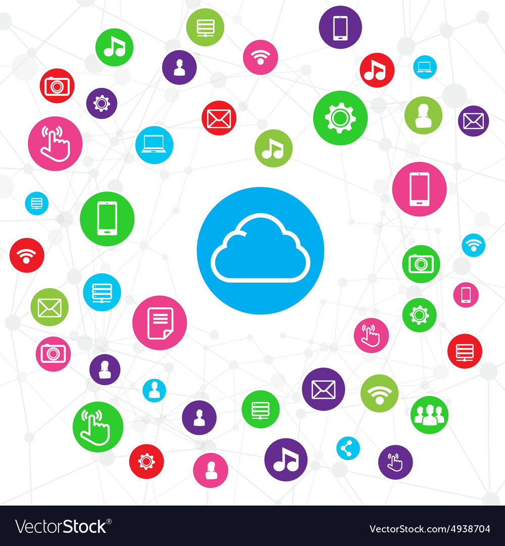 Cloud computer connection network system concept