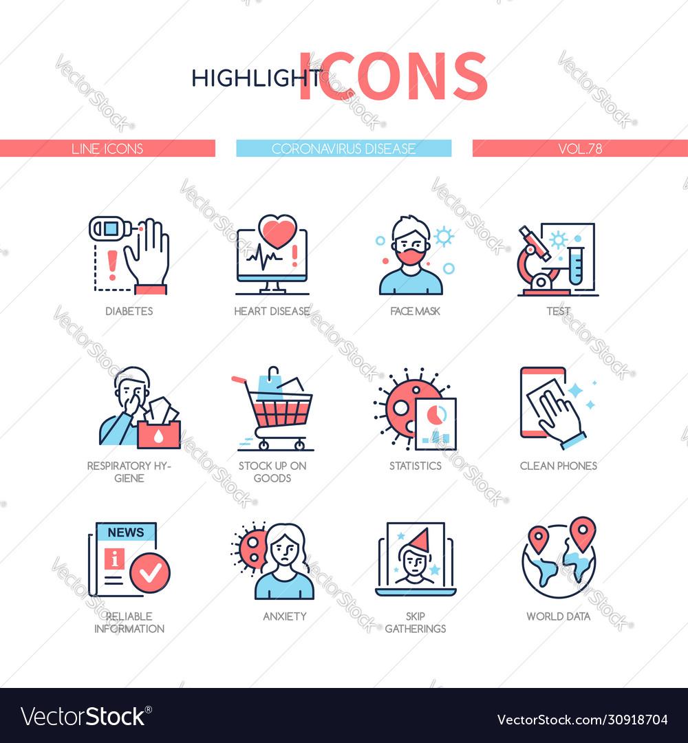 Coronavirus disease - line design style icons set