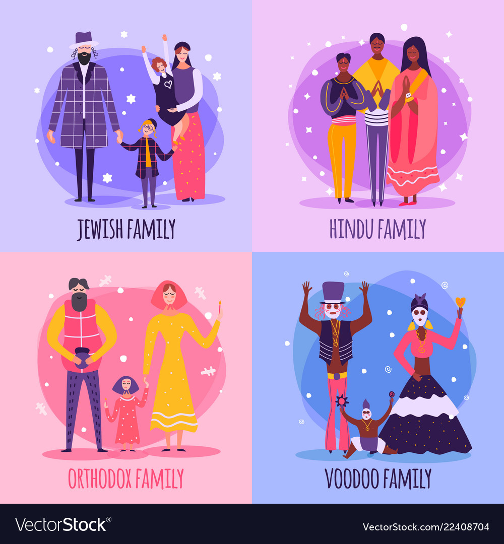 Different religious people family flat icon set