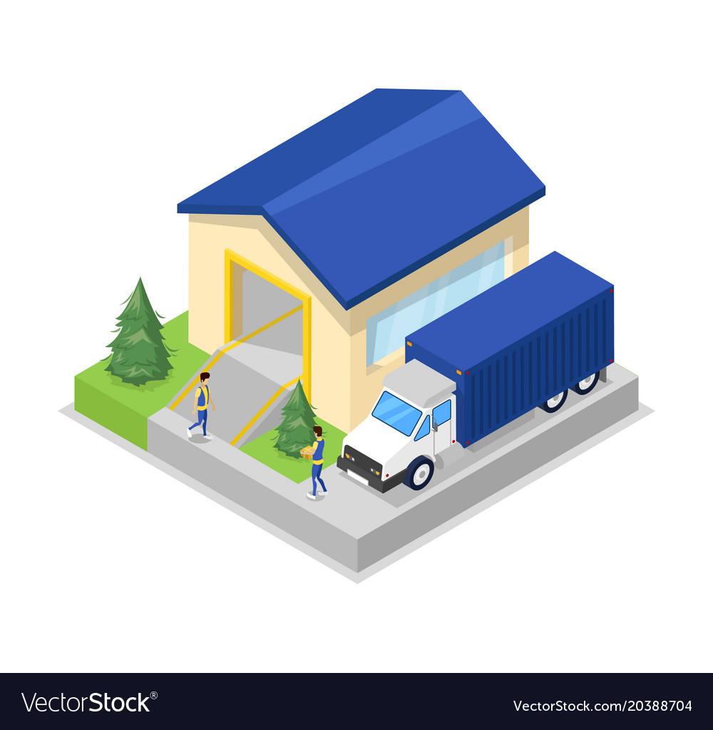Freight truck near warehouse hanger isometric icon