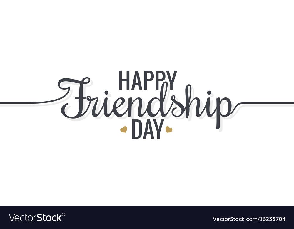 Friendship day lettering logo design background vector image