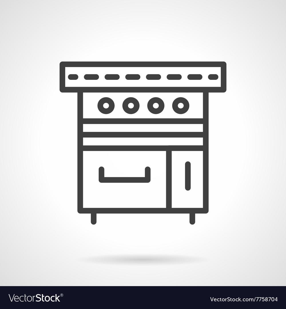 Kitchen stove black line design icon