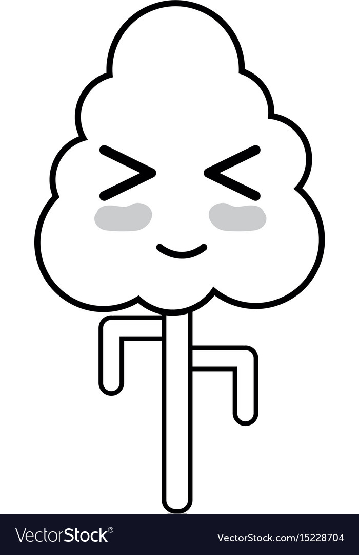 Line kawaii cute funny tree ecology vector image
