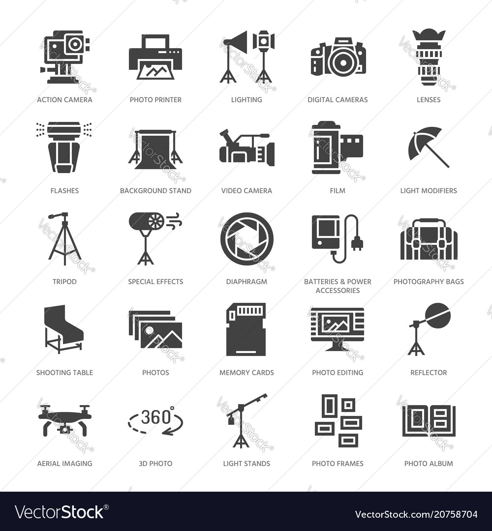 Photography equipment flat glyph icons digital vector image