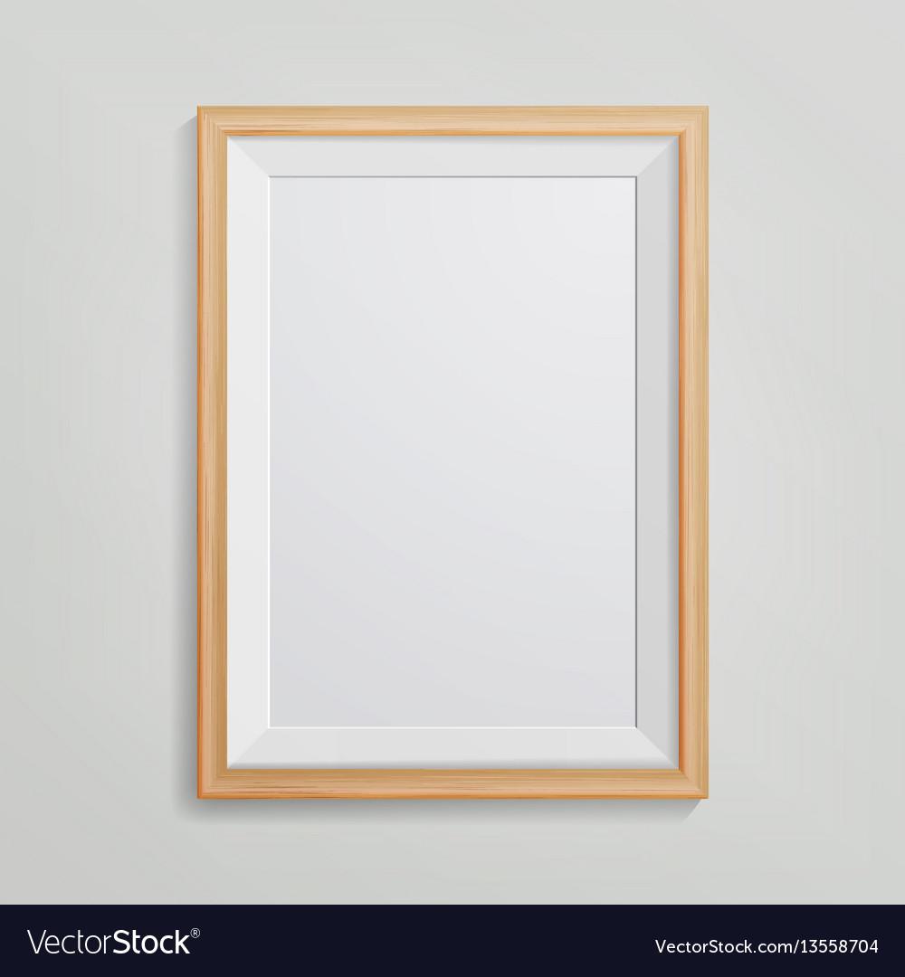 Realistic photo frame 3d empty wood blank