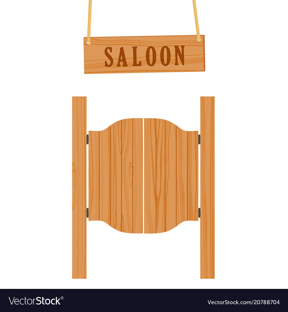 Saloon doors and sign vector image  sc 1 st  VectorStock & Saloon doors and sign Royalty Free Vector Image