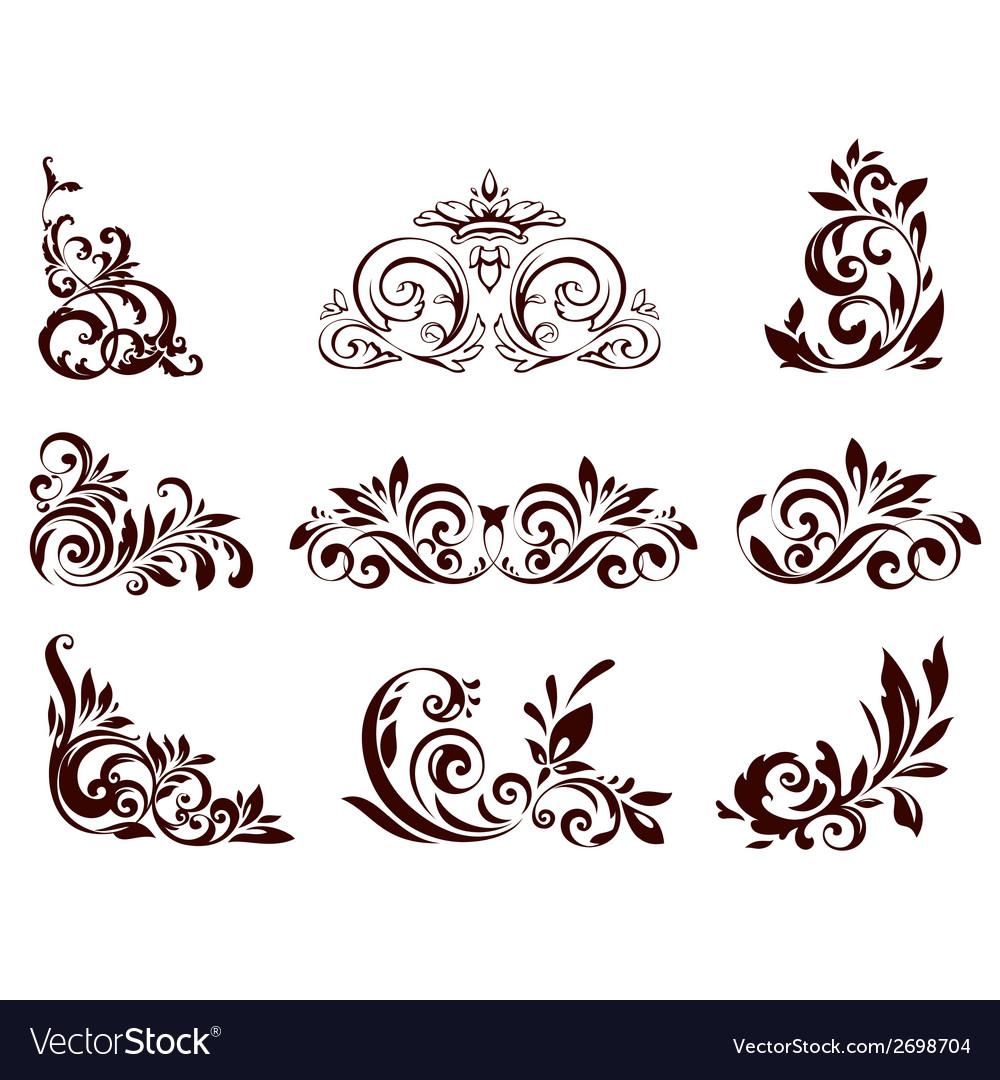 Set of floral element