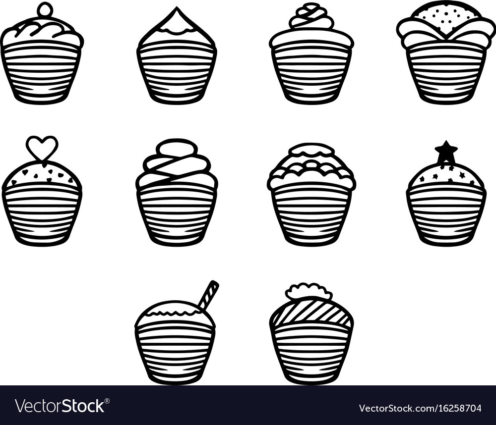 Thin line cupcake icon set vector image