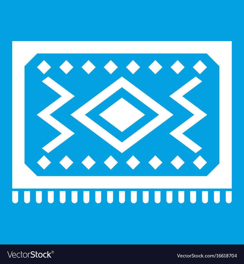 Turkish Carpet Icon White Vector Image