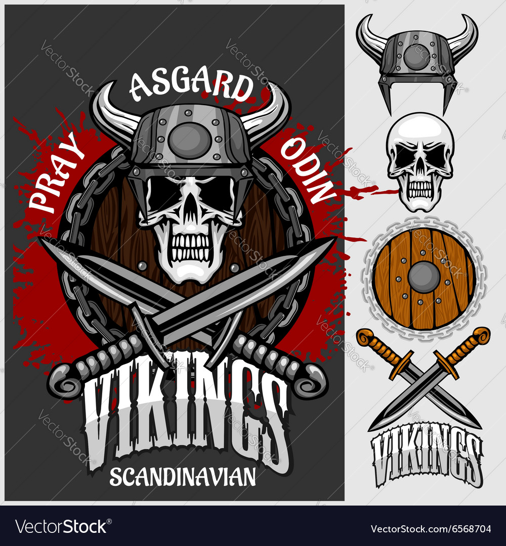 Viking emblem and logos plus isolated elements for
