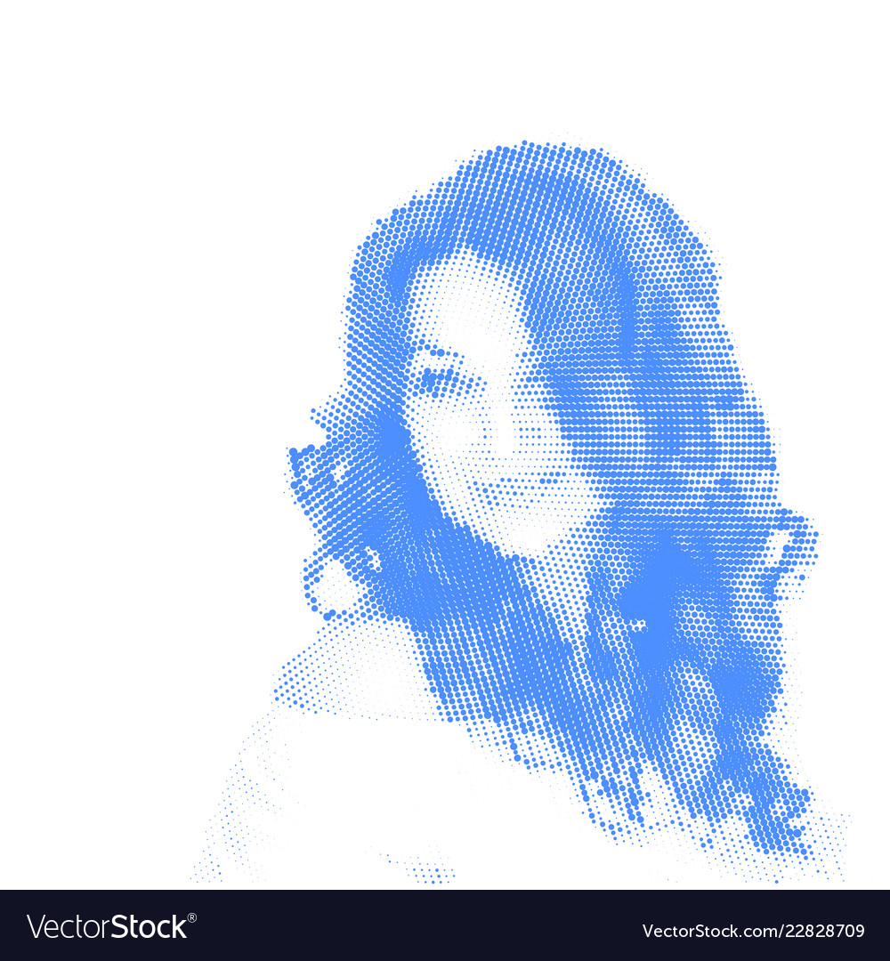Beautiful blue colored woman portrait with long