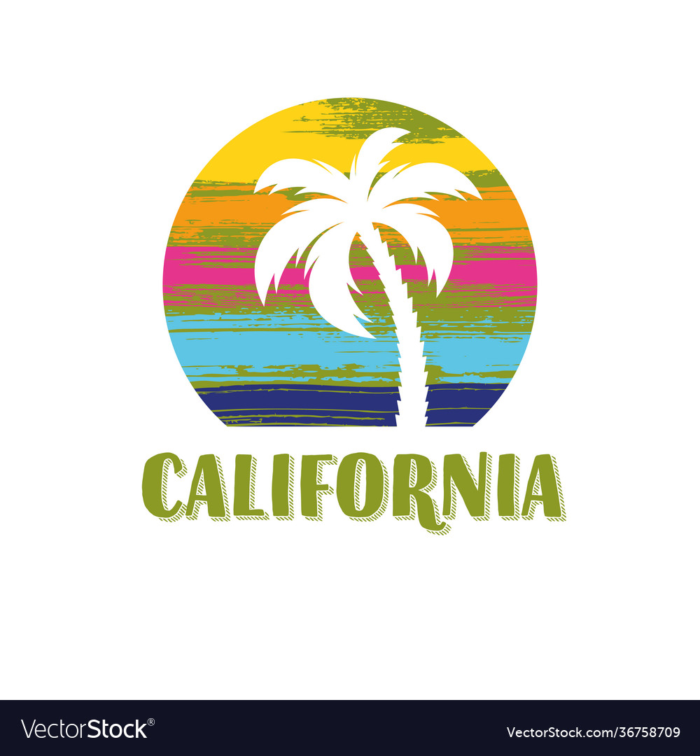 California tee print design with palm