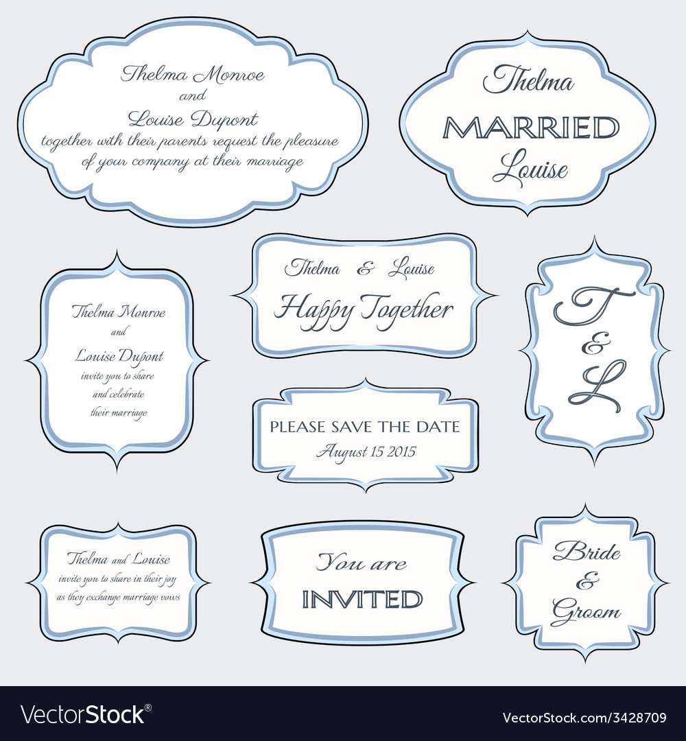 Frames for wedding invitation cards Royalty Free Vector