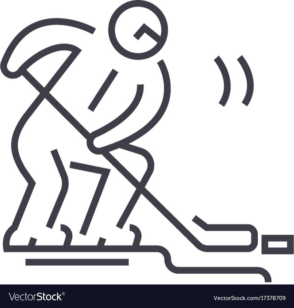 Hockey player flat line concept