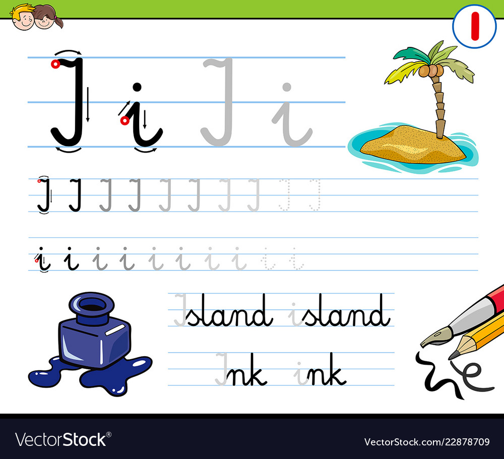 How to write letter i workbook for children Vector Image
