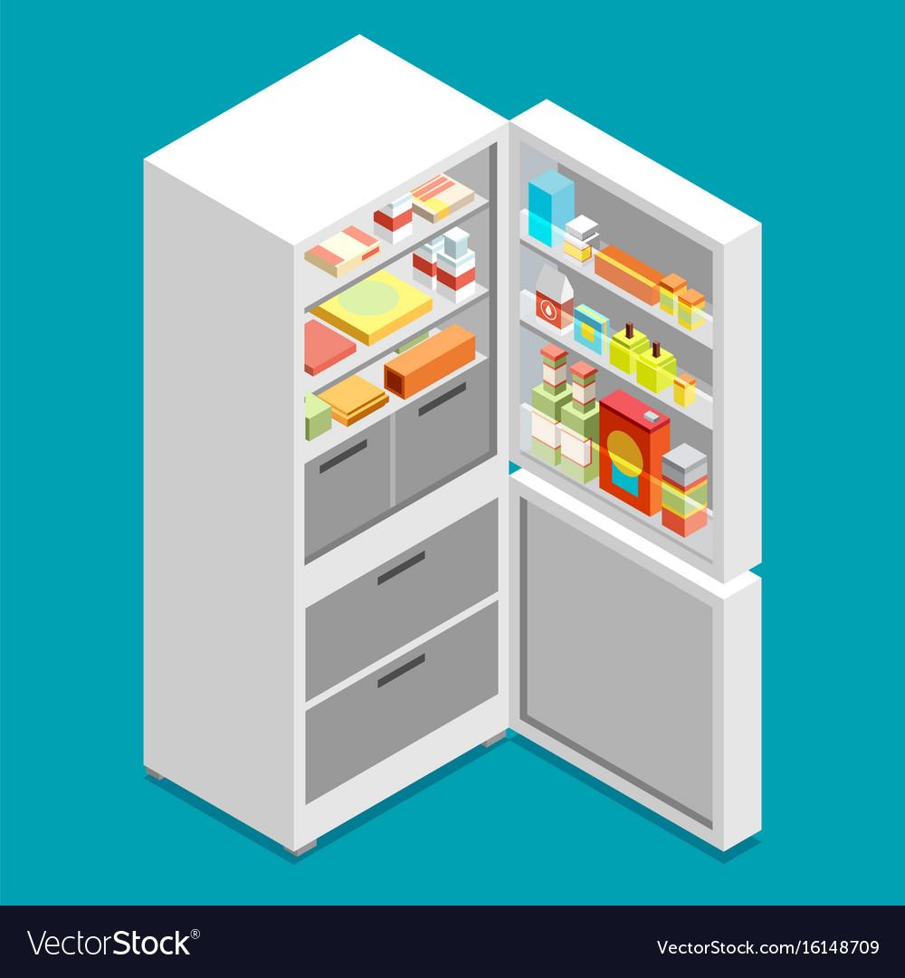 Isometric fridge flat icon vector image